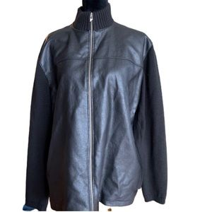 Vintage New Man black leather cotton zip up jacket